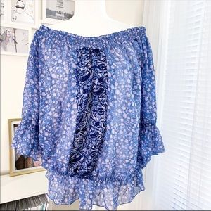 Free People Off The Shoulder Blue Floral Sheer Top